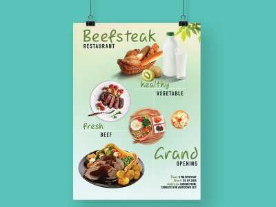 beefsteak, restaurant, opening, food, healthy, fresh, poster, flyer