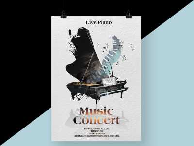 piano, live, music, concert, poster, flyer, relax