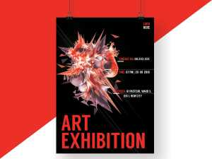 Red Abstract Art Exhibition Poster