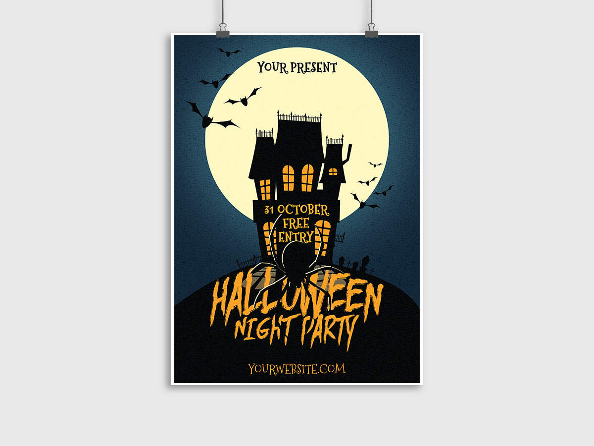 Halloween,Night,Party,Poster, flyer, Template, print