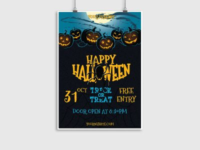 Halloween,Night,Party,Poster, flyer, Template, print, happy halloween