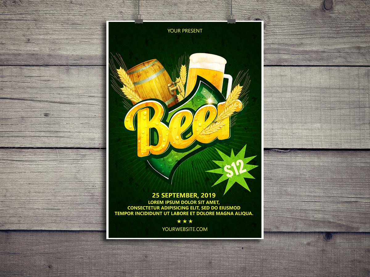 Beer, Festival, Flyer Template, poster, print