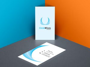 Business card with CircleWings logo sample