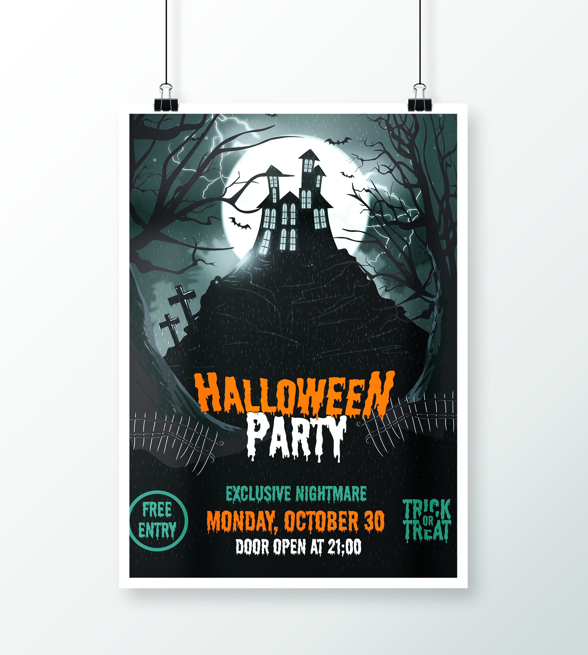 halloween part night fly templates poster xcreative