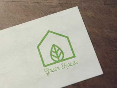 logo, green, house, graphic
