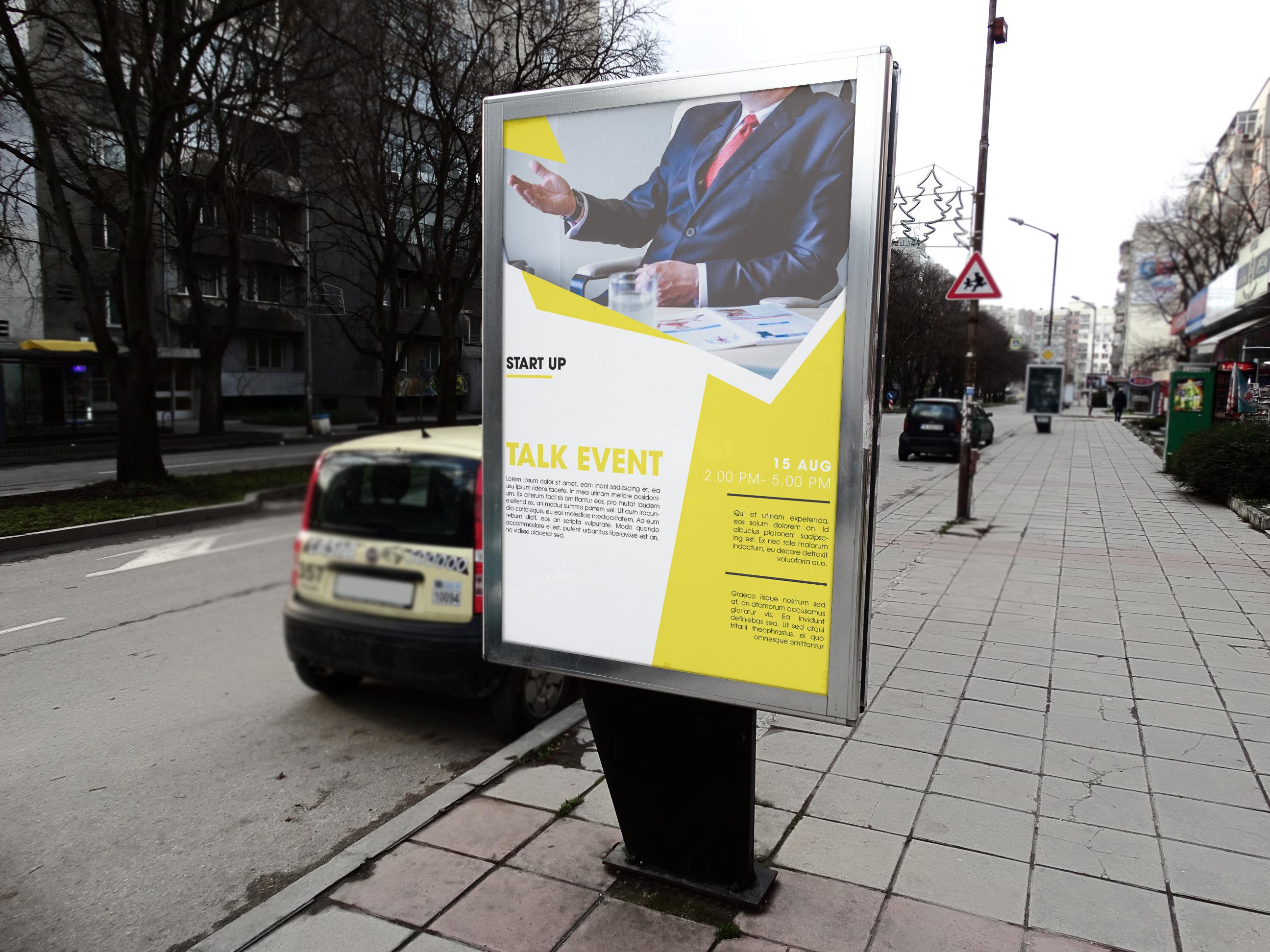 startup, talk, event, poster, design