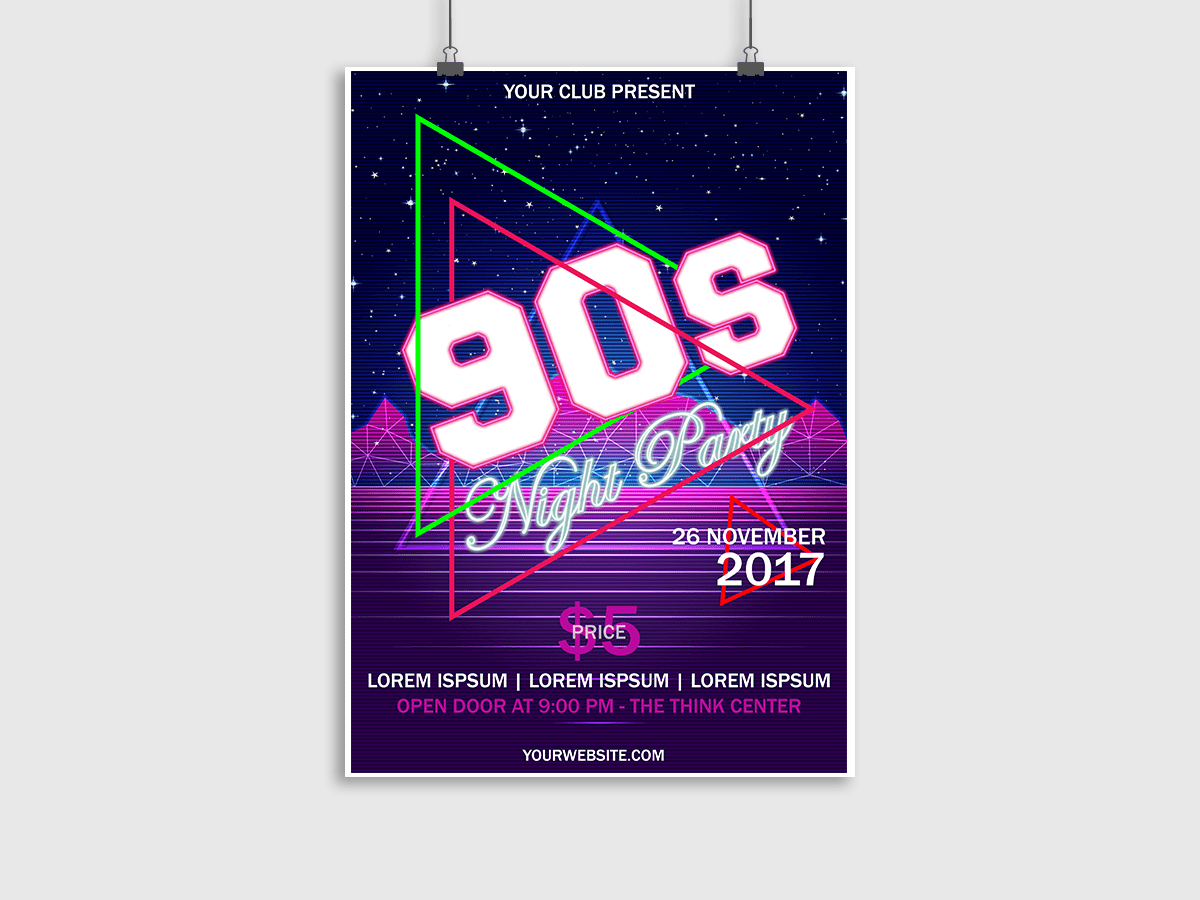 poster template 90 x 120cm - 90s night party poster templates xcreative