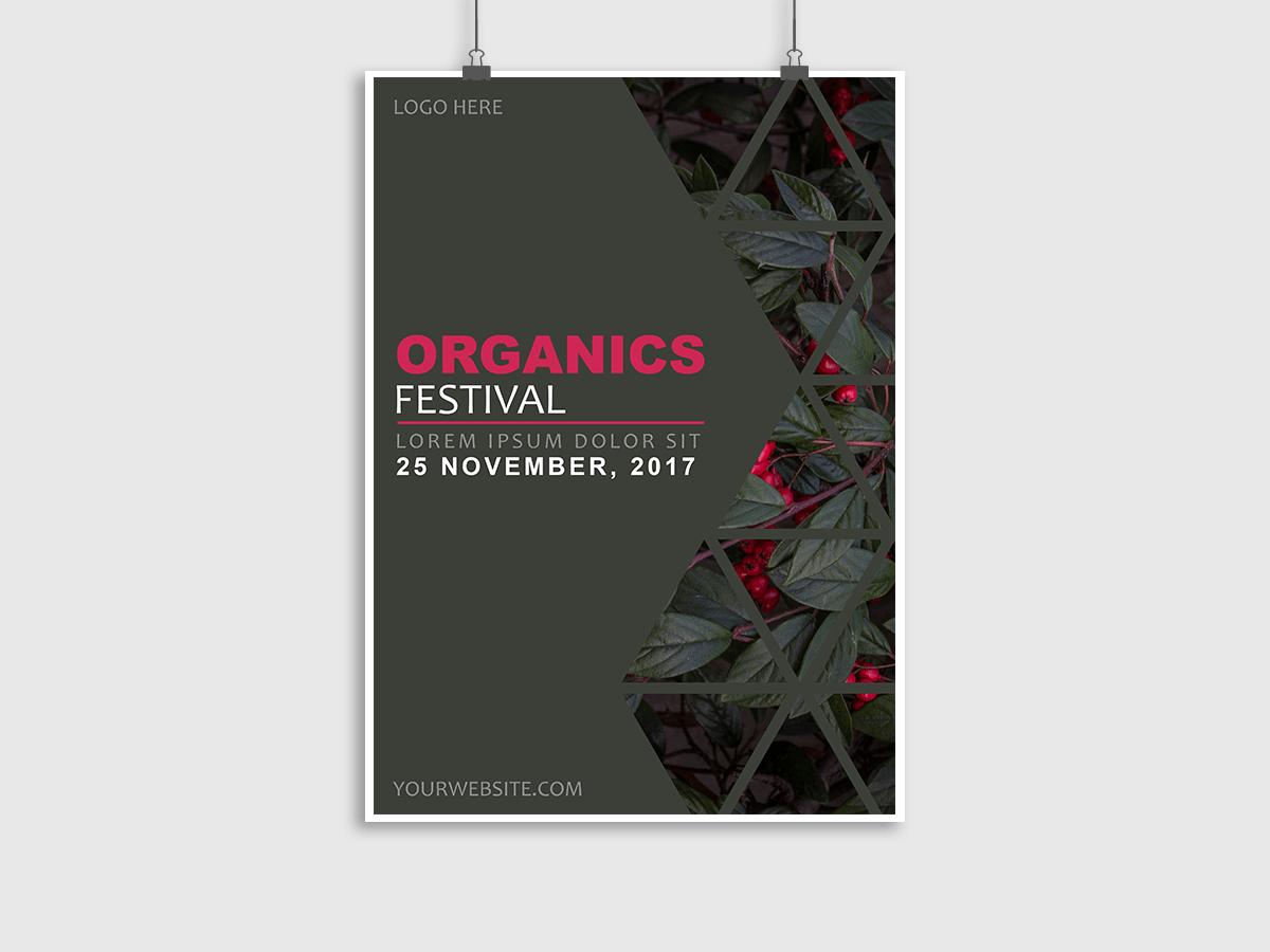Organics,Festival, poster, flyer, event, gray, black