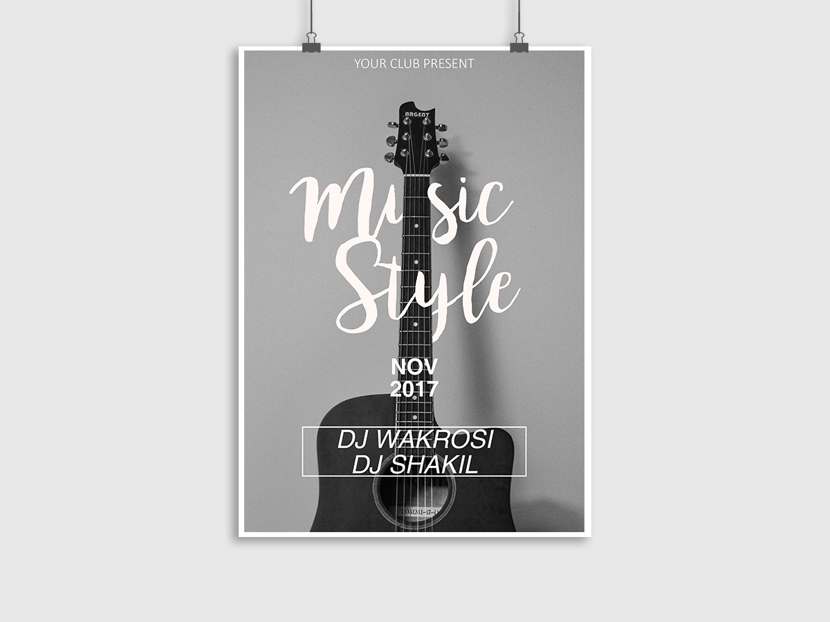 Music Style, music, event, guitar, party, poster, flyer