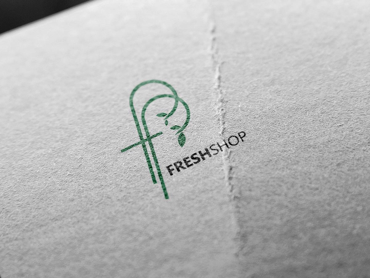 Fresh shop, fresh, shop, store, logo, green, leaf, design
