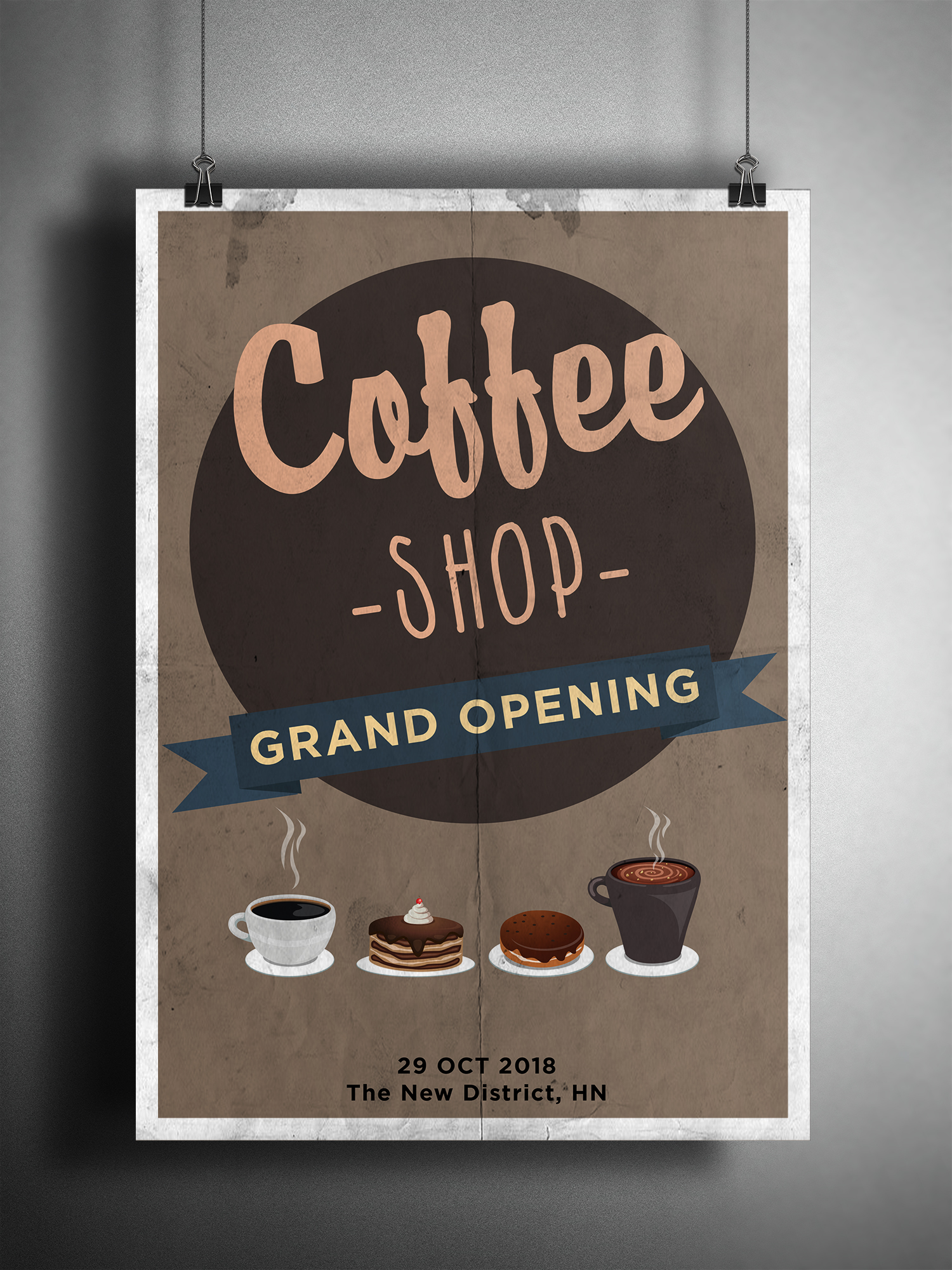 coffee grand opening poster xcreative. Black Bedroom Furniture Sets. Home Design Ideas