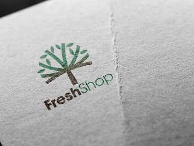 Fresh shop, store, logo, fresh, green, tree, fashion