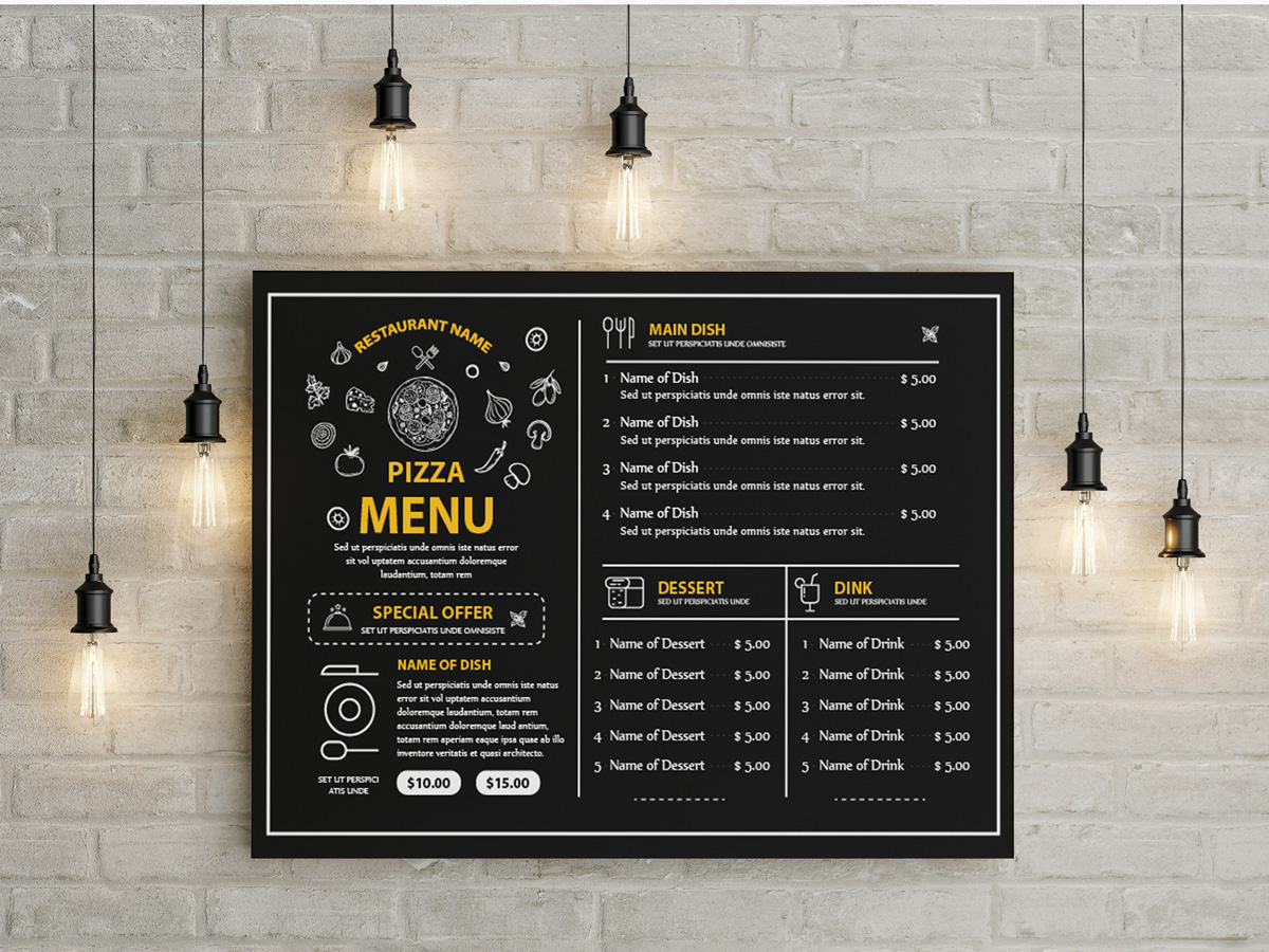 Pizza restaurant Menu Template , menu templates, pizza