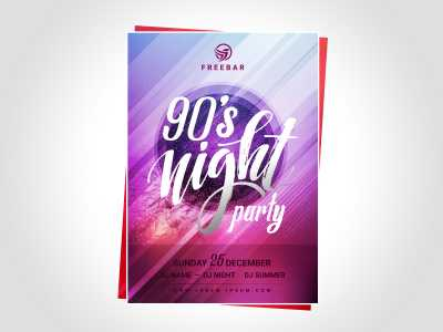 Poster 90's night party templates