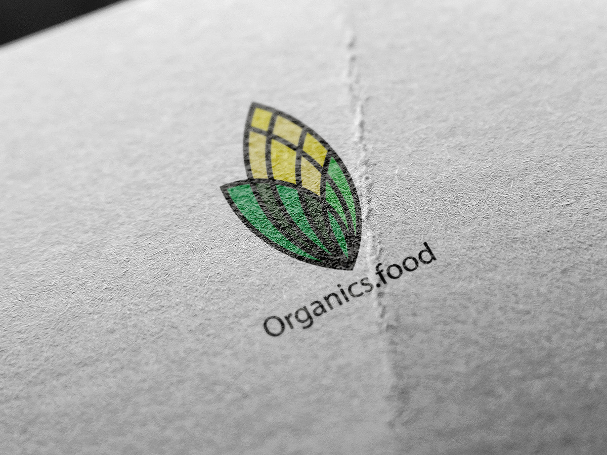 Organics food, logo design, food, logo, nature,corn, yellow, green