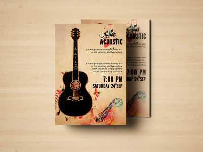 Guitar Acoustic, Acoustic, guitar, music, event, Flyer Templates, poster