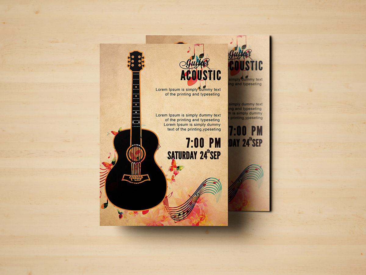 Guitar Acoustic, Acoustic, guitar, music, event, Flyer Templates, poster