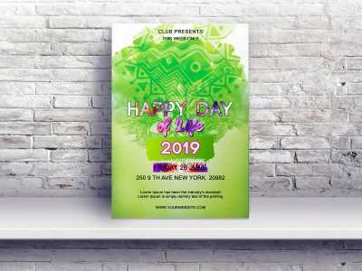 Happy Day, Flyer Templates, celebration,event, green, flyer, poster, tree
