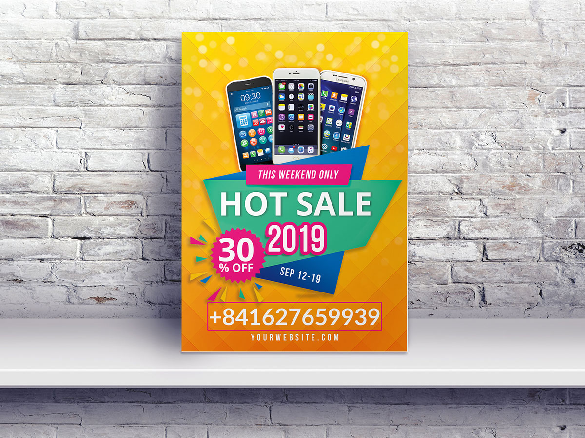 Hot Sale, Flyer Templates, poster, sale, iphone, phone, smartphone, orange, promotion