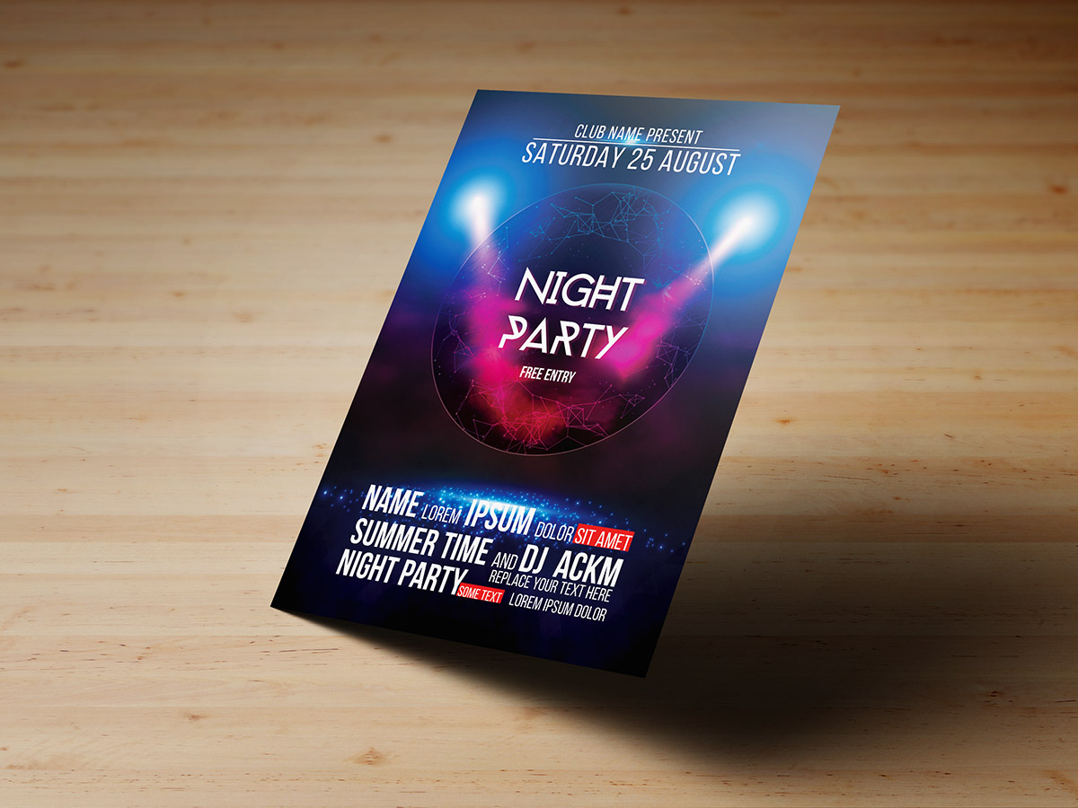 Night Party, Flyer, poster,design,Templates, music, night, event, Dj, party, light