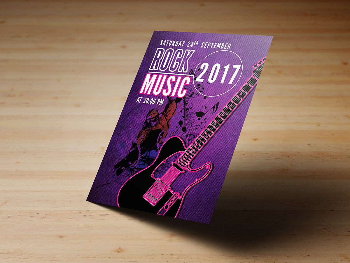 Rock ,night, light, music, event, guitar, party, poster, flyer