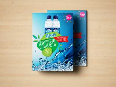 Shop Fresh Water, water, cool, fresh, poster, flyer, templates, blue, ocean