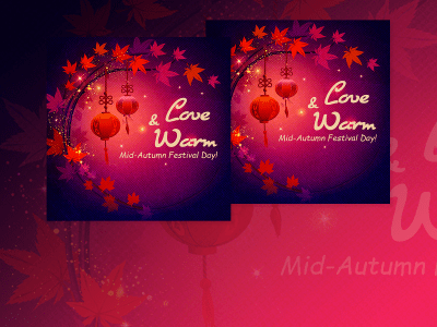 Love and Warm, social media, templates, mid autumn, festival, event, love, autumn, facebook ads,instagram, purple