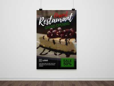 Restaurant, poster, food, dessert, cake, sweet, sale, discount
