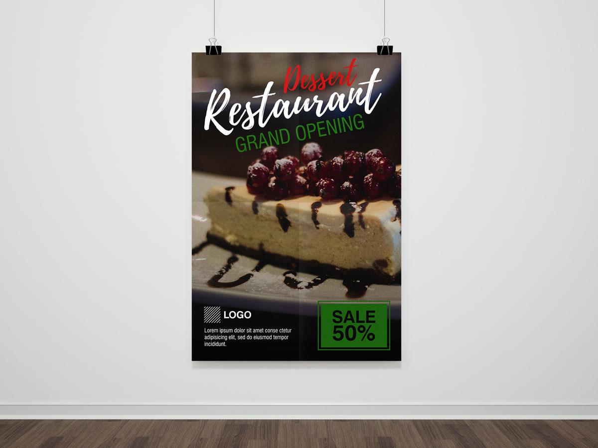 Restaurant, poster, food, dessert, cake, sweet, sale, discount