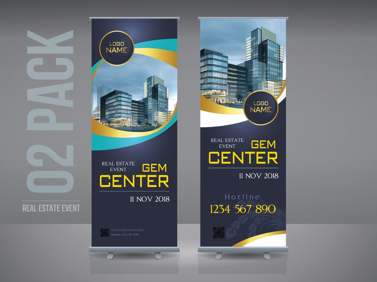 Real Estate Event, Rollup banner, building, home, estate, standee, standee building, standee estate