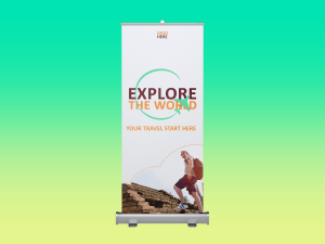 Explore the world – rollup banner