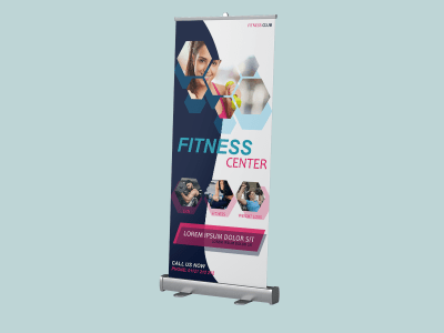 Fitness center, rollup banner, fitness, gym, body, healthy, rollup, standee