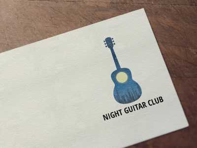 Night guitar club logo, music, logo, night, star, guitar, design