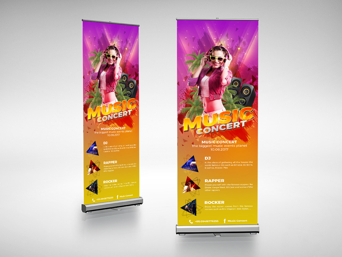 music event, show, concert, roll up banner, standee design templates
