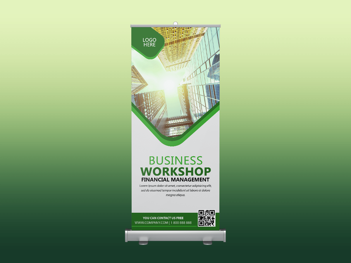 Business workshop, busines, workshop, company, meeting, maketing, manager, event, rollup banner, green, standee