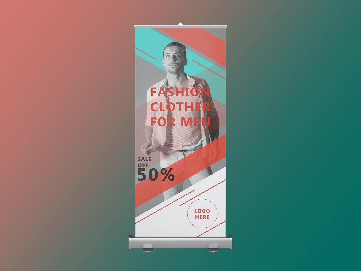 Fashion sale, rollup banner, fashion, shop, store, sale, sale off, promotion, discount, collection,standee, model, men,