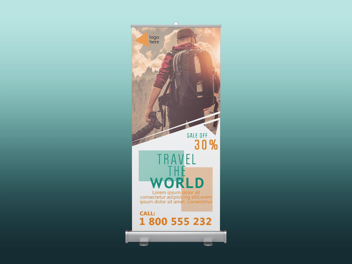 Travel the world, rollup banner, standee, travel, holiday, climb, world, moutain, sale, discount