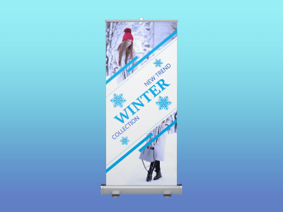 winter collection, rollup banner, standee, winter, snow, cold, fashion, sale, model, blue