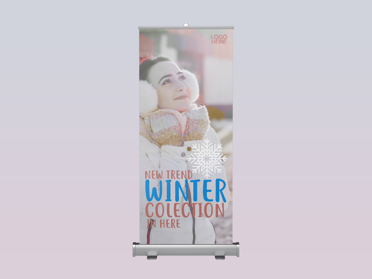 winter collection, rollup banner, standee, winter, snow, cold, fashion, sale, model