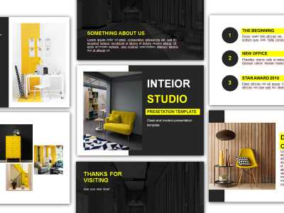 INTEIOR STUDIO, ppt template, yellow, power point, furniture, design, house, studio