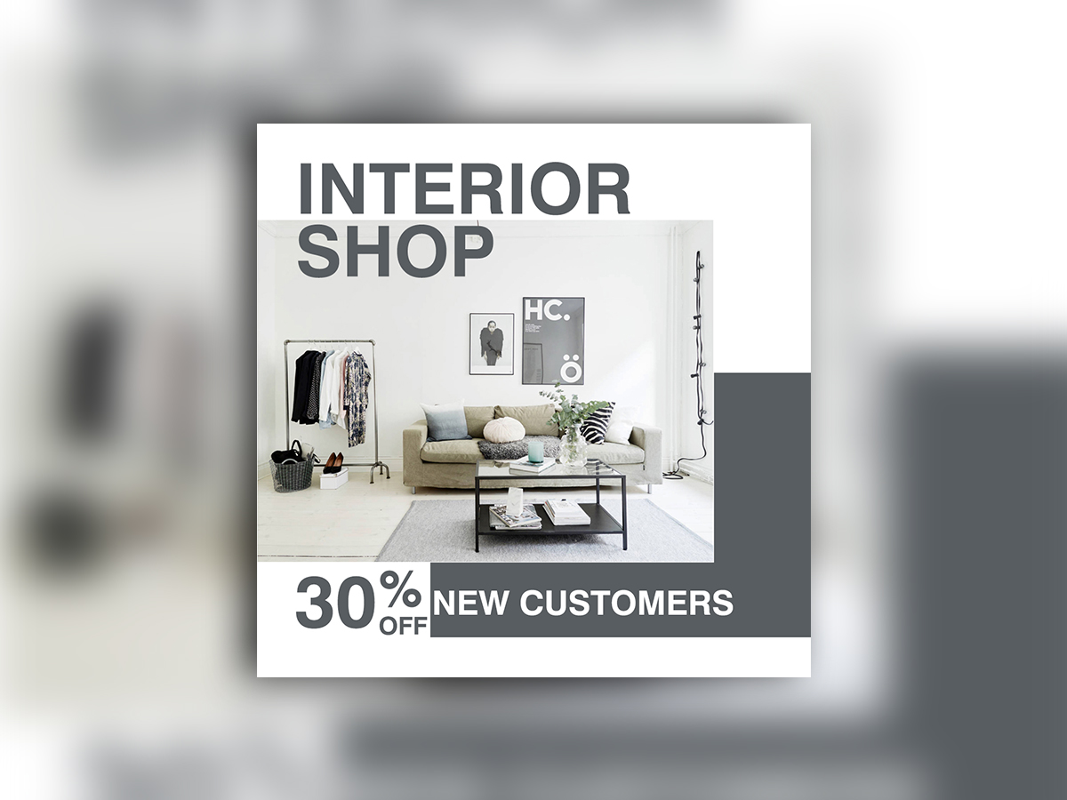 Interior Shop, Social Media Template, Funiture, design, studio, house, home