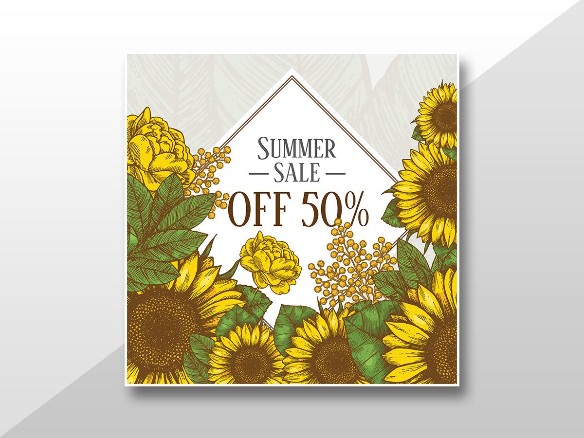 Sunflower vintage-Summer Sale-Social Media Templates