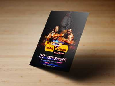 Boxing Flyer Templates, boxing, poster, flyer, sports, man, gym, men, black, yellow