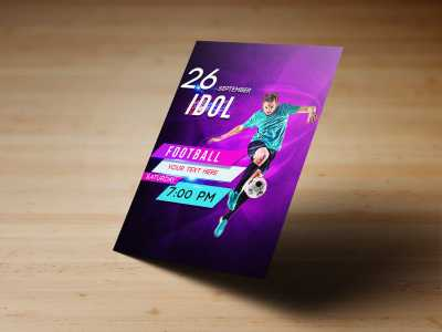 Football Idol Flyer Templates, football, soccer, men, boy, sport, football club, event, purple, poster, flyer, design, templates