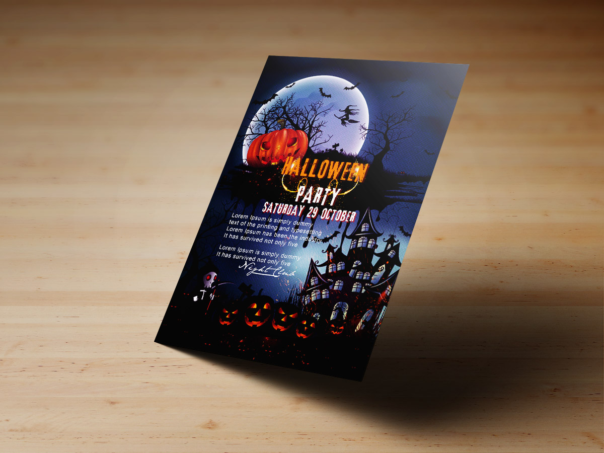 Halloween,Night,Party,Poster, flyer, Template, print, happy halloween, dark, night, black, blue