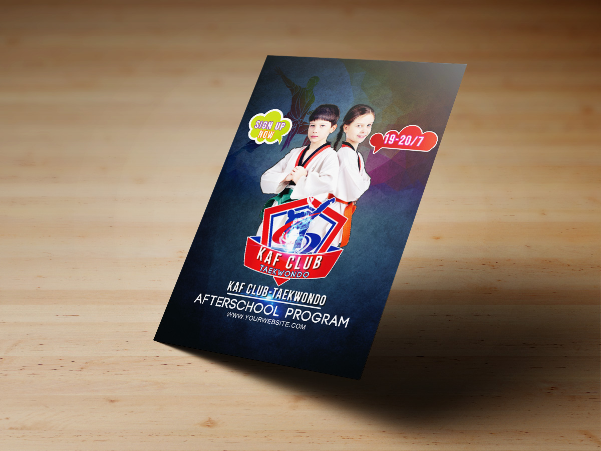 Taekwondo Flyer Templates, teakwondo, sport, class, kids, poster, flyer, templates, blue