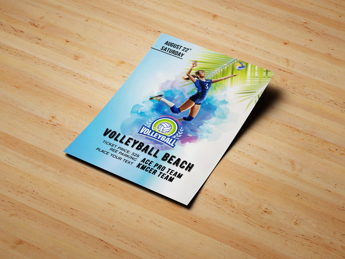 Volleyball Beach Flyer Templates, volleyball, beach, sport, women, blue, cyan, poster, flyer, event