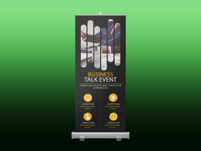 Business talk event, roll up banner, business, event, company, meeting, talk, manager, marketing, rollup, standee