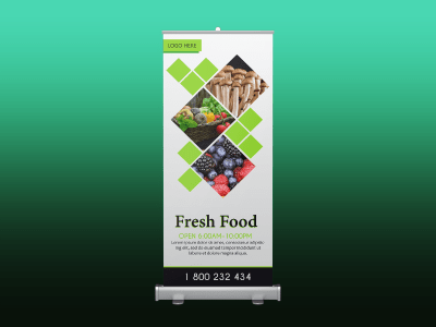 Fresh food, rollup banner, vegetable, fresh, food, green, rollup, standee