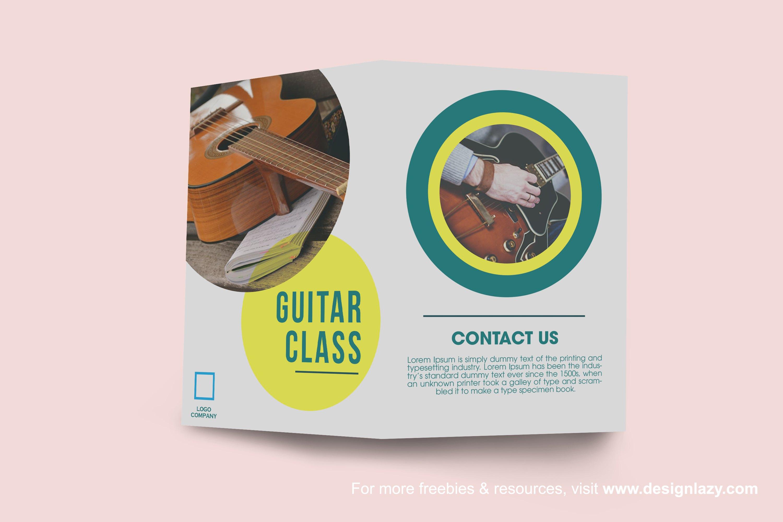 brochure, class, guitar, design